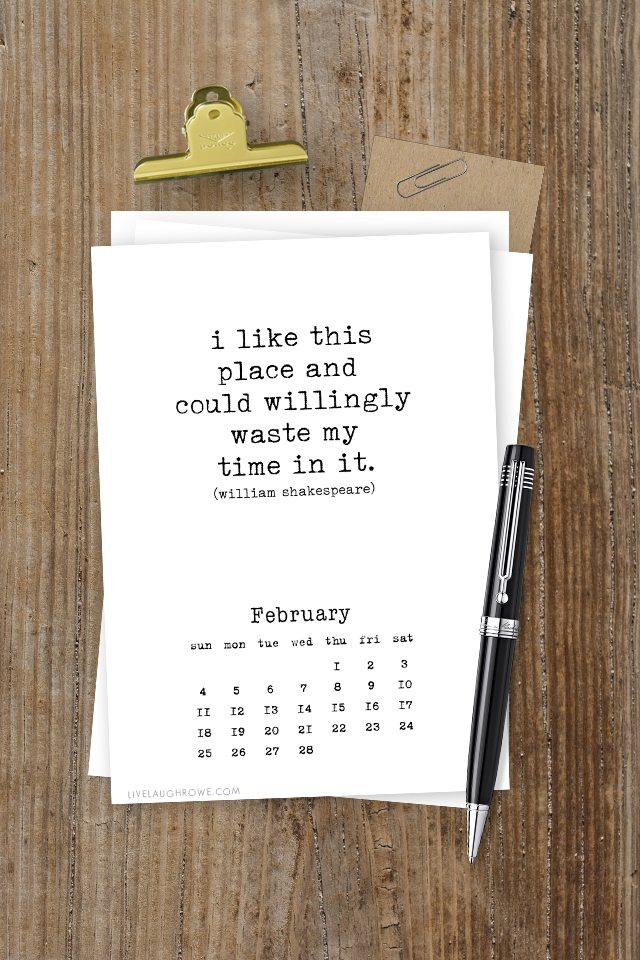 This Free Printable Calendar for 2018 is inspiring due to all the beautiful quotes used for each month. Be sure to print yours at livelaughrowe.com