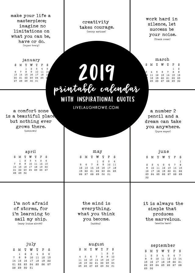 picture relating to Printable Inspirational Quotes called Totally free Printable Calendar with Inspirational Prices that are