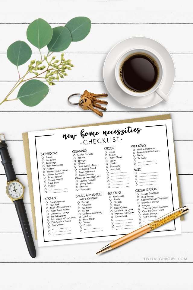 New Home Necessities Checklist | Printable Resource - Live ...