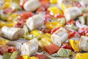 This roasted dish of Chicken Sausage and Peppers is packed with fresh flavors and vibrant colors. Fill your plate up with this healthy sheet pan dinner that's easy and nutritious. Recipe at livelaughrowe.com