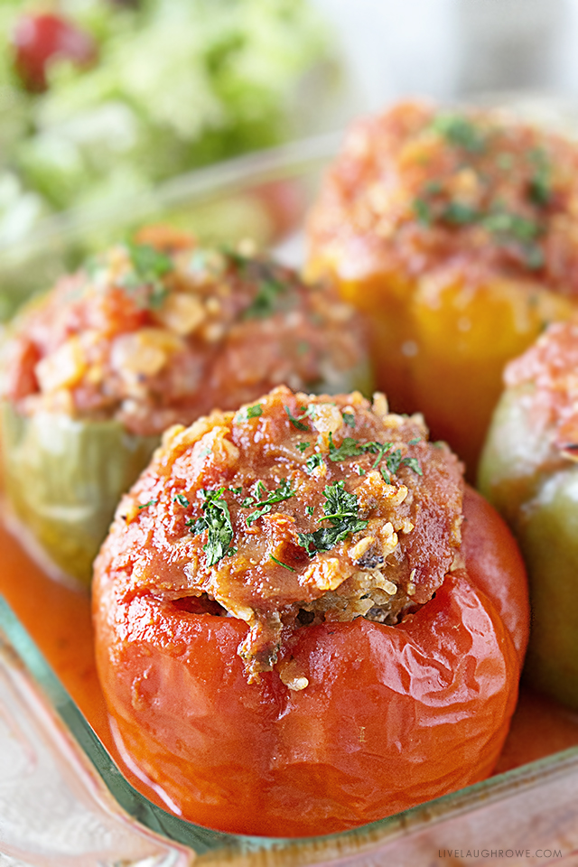 These Turkey Stuffed Bell Peppers are healthy and packed with flavor... aaaand guess what? There's so much moisture in the stuffed pepper that you don't need to cook the rice first! Recipe at livelaughrowe.com