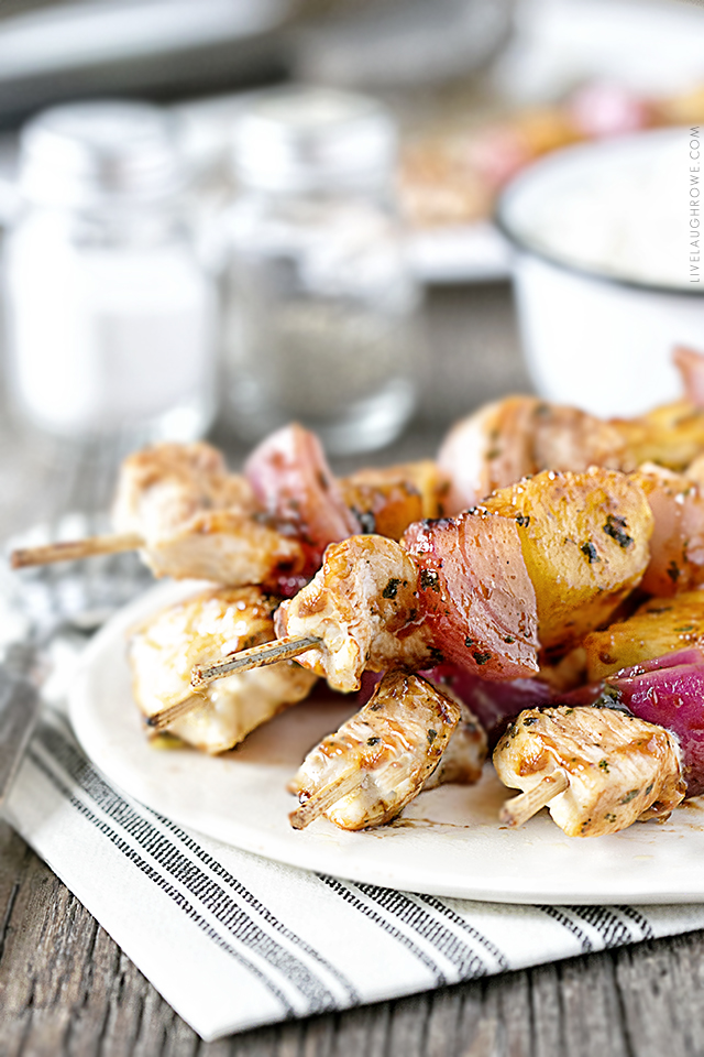 Amazing BBQ Chicken Skewers with Pineapple and a sweet cilantro barbecue sauce. This Weight Watchers friendly recipe is low in points and HIGH in flavor. Recipe at livelaughrowe.com