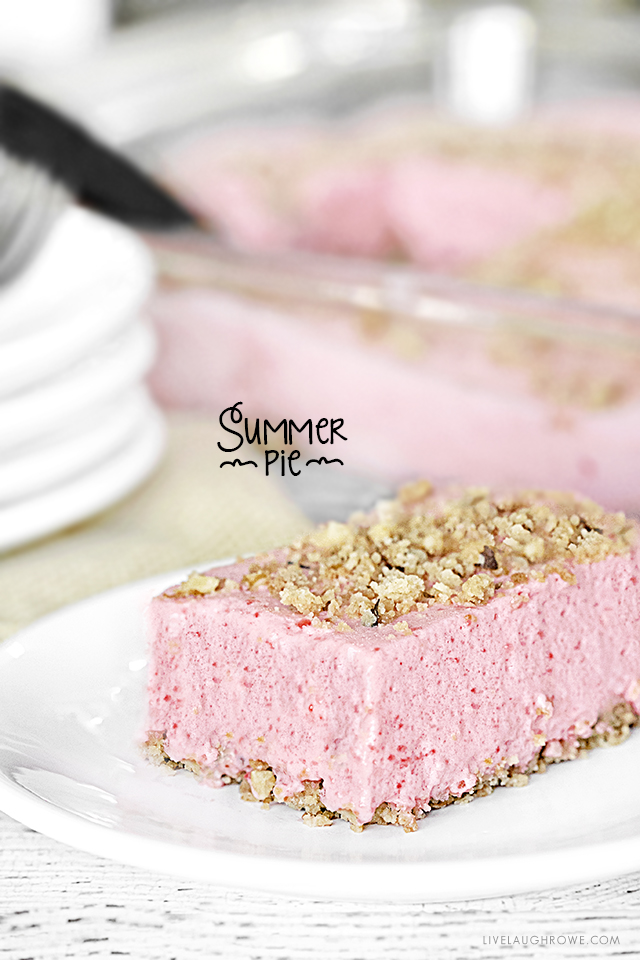 End the backyard BBQ on a sweet note with this Summer Pie dessert. It's a perfect combination of light, sweet and crunchy --it's sure to be a new family fave! Recipe at livelaughrowe.com
