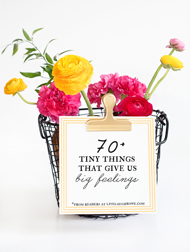 So many tiny things give us BIG feelings, but we often overlook them. Great post (with a printable) on finding happiness in what many others might find as insignificant. More at livelaughrowe.com