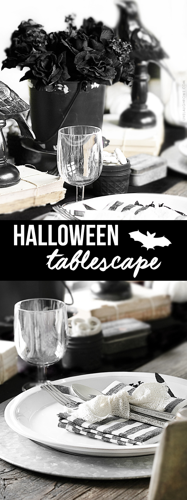 black and white halloween tablescape - live laugh rowe