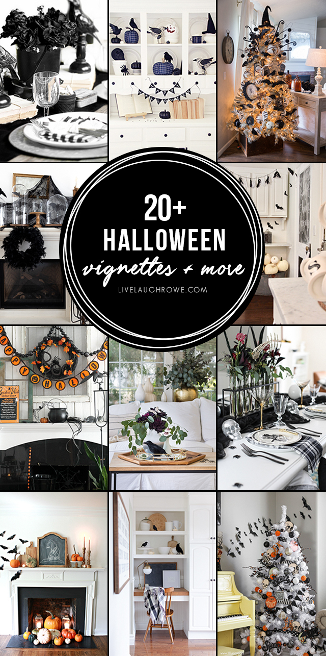 Over TWENTY different homes showcasing Halloween decor in vignettes from the front porch to a tablescape and more. Be inspired! livelaughrowe.com