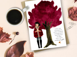 Fall Fashion Illustration in watercolor with a lovely Autumn quote: Sweet Cider, Cozy Blankets, Perfect Pumpkins, Crunching Leaves, Sparkling Fires, Cool Days, Warm Night -- We Love You, Fall! Free Printable at livelaughrowe.com