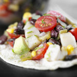 Tostada Recipe:  Mexican Black Bean Salad Tosada