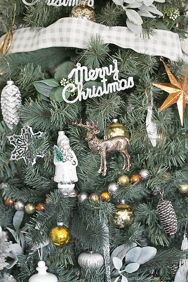 Beautiful Silver and Gold Christmas Tree. livelaughrowe.com