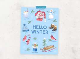 Winter favorites all wrapped into a festive Hello Winter Printable. Grab yours at livelaughrowe.com
