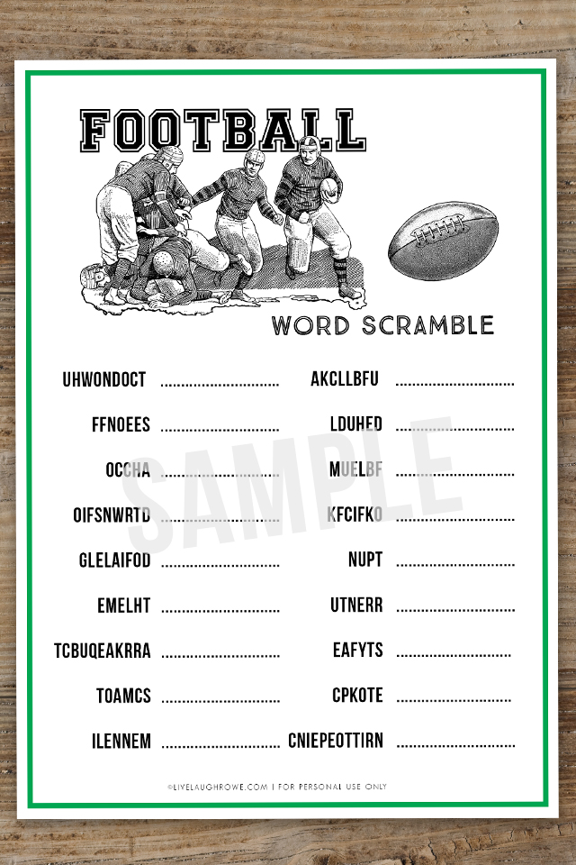 photo relating to Super Bowl Party Games Printable referred to as Soccer Phrase Scramble Tremendous Bowl Social gathering Activity - Reside Chortle Rowe