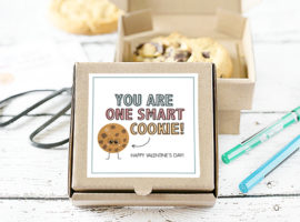 "Stop the cuteness! These cookie gifts are too cute for words. One for Valentine's Day and one to use as a ""Just Because"" gift -- using mini pizza boxes. Print your cookie tags at livelaughrowe.com"