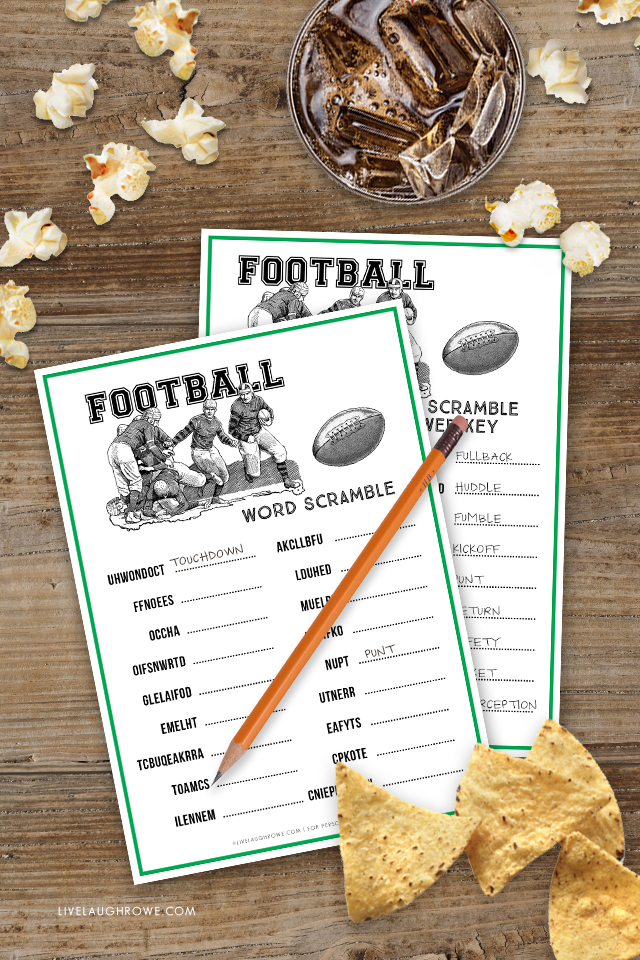 Football fans rejoice! This Football Word Scramble should be a BIG hit on game day! Make this a Super Bowl Party Game that will put your guests to work in a fun competition. Print yours at livelaughrowe.com