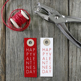 Sweet and simple typography printable valentine tags. Two color options and FREE! Print yours at livelaughrowe.com