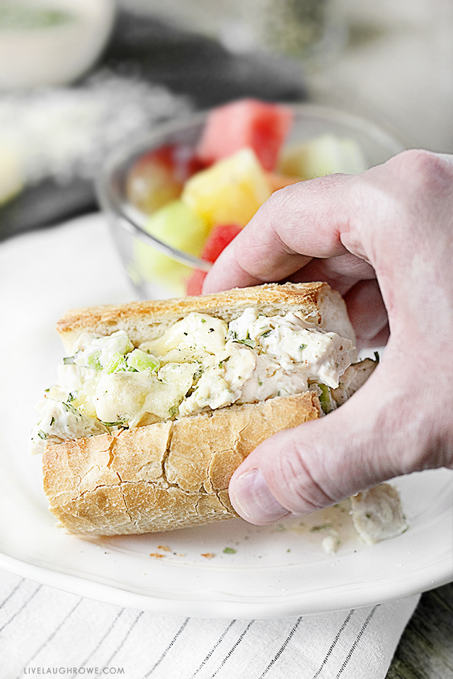 Easy, creamy and cheesy? Yes, please. This WW friendly Chicken Salad Melt Sandwich is on the lighter side without compromising any flavor. Recipe at livelaughrowe.com