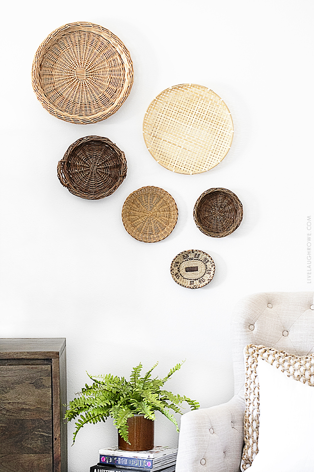 Simple Decor Updates with Thrift Store Finds. For example, this beautiful bohemian basket vignette hung on the wall. Find more inspiration at livelaughrowe.com
