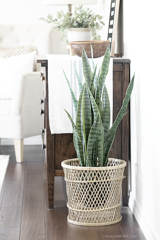 Simple Decor Updates with Thrift Store Finds. For example, this beautiful bohemian basket that was perfect for a plant holder! Find more inspiration at livelaughrowe.com