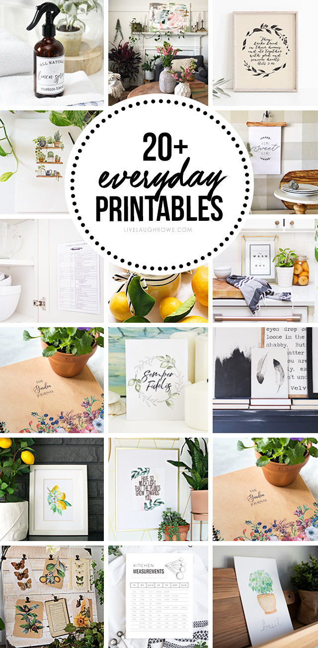 WOW! 20+ Free Everyday Printables -- from watercolors to butterflies to kitchen cheatsheets! livelaughrowe.com