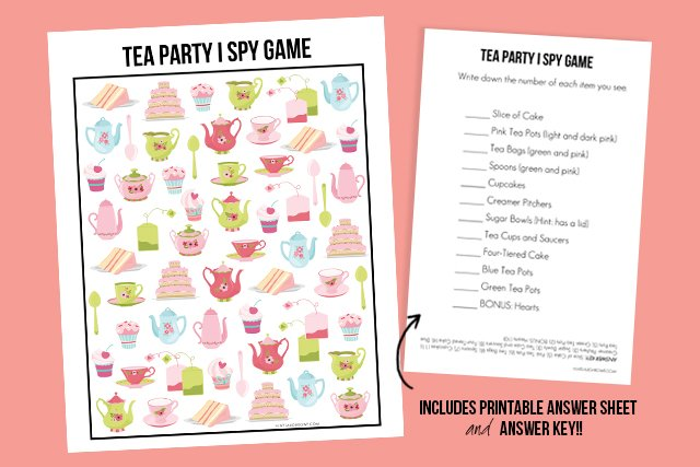 Comprehensive image within free printable tea party games