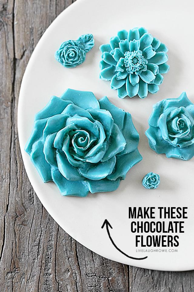 blue chocolate flowers