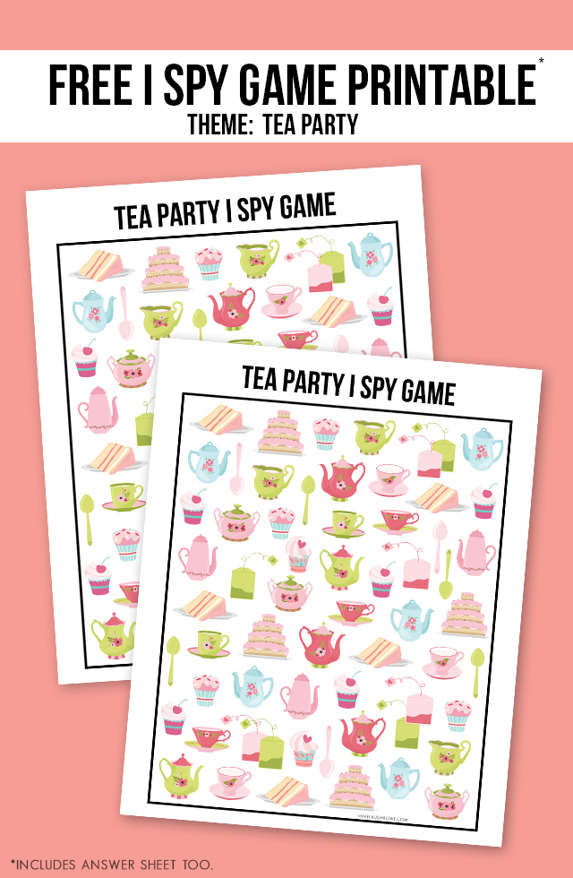 photo regarding Printable Party Games identify Tea Bash Match Printable I Spy - Dwell Chuckle Rowe