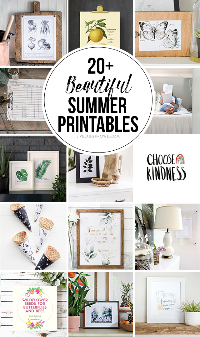 Over 20+ Beautiful Summer Printables -- and they're all FREE! livelaughrowe.com