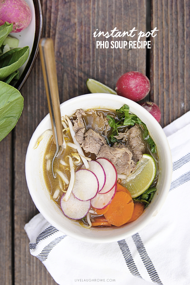 This Vietnamese Pho Soup Recipe is not only delicious, but it can be made in the Instant Pot too!  Another selling feature for this recipe is that YOU get to pick the toppings. More at livelaughrowe.com