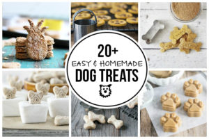 20+ Easy Homemade Dog Treats for you to make and spoil your little pooches! More at livelaughrowe.com