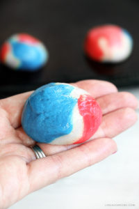Add these colorful Patriotic Cake Batter Cookies to your July 4th festivities! Simple to make and delicious to eat. Recipe at livelaughrowe.com