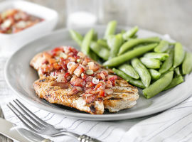 The sweetness of this strawberry salsa, complimented by the balsamic glaze is an amazing, flavorful combo.  Served over grilled chicken, you're in for a real treat that the whole family will enjoy! And, it's WW friendly coming in at 1 SmartPoint on the FreeStyle program. Recipe at livelaughrowe.com