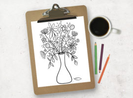 This hand drawn floral bouquet is a FREE printable coloring page from livelaughrowe.com. Take a break from your mundane day and color -- or have the kids color a bouquet for grandma or a neighbor too!