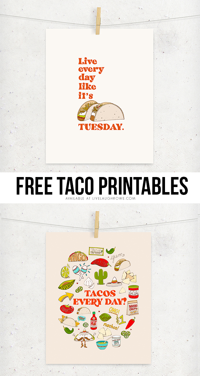 Awesome-sauce Taco Love Printables! These printables are perfect for taco and Taco Tuesday lovers. Grabs yours today at livelaughrowe.com