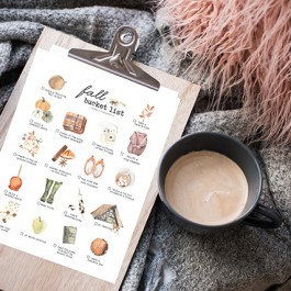 Printable Fall Bucket List Ideas on a Clipboard