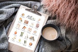 Printable Fall Bucket List Ideas on a Clipboard