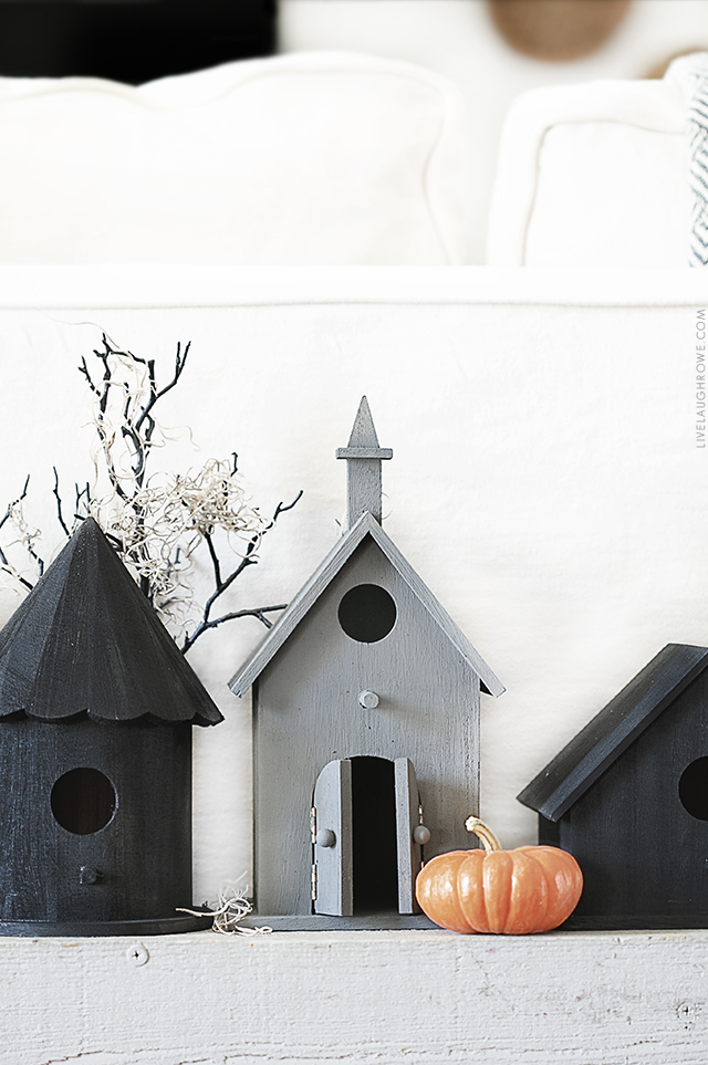 Close Up Shot of Halloween Birdhouses
