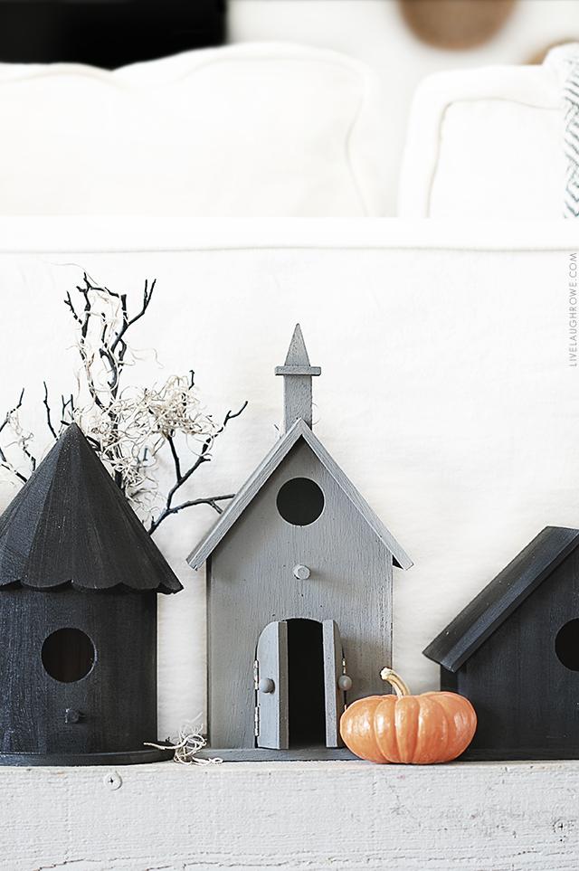 Close Up Shot of Halloween Birdhouses