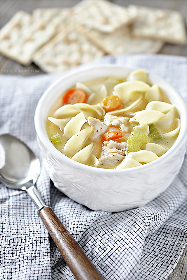 Bowl of Crockpot Chicken Soup with Spoon