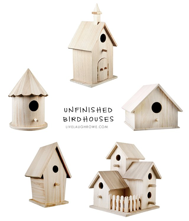 Unfinished birdhouses