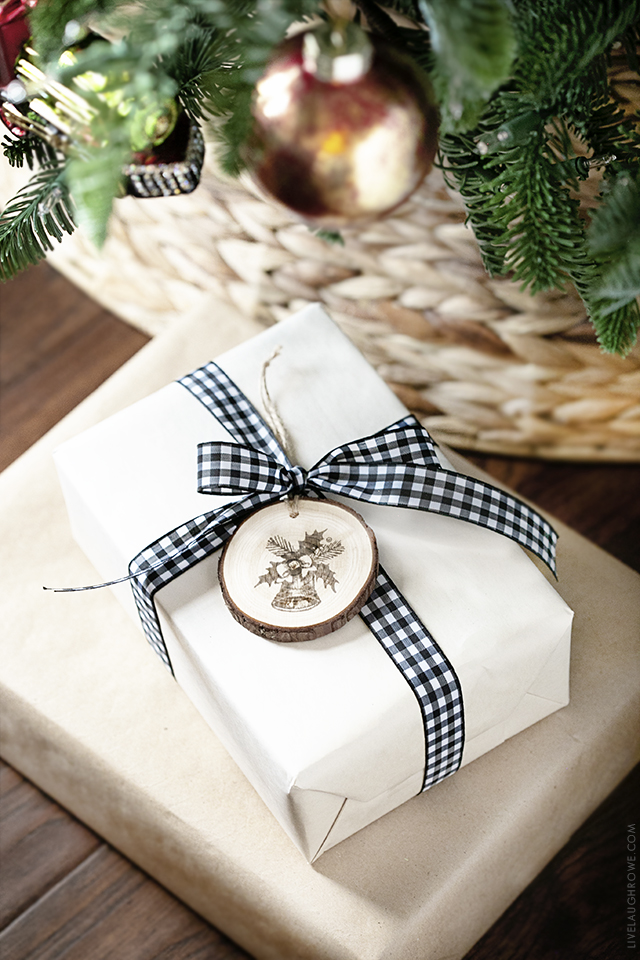 Package with Wood Slice Ornament on it.