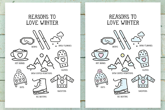Side by Side Reasons to Love Winter Printables