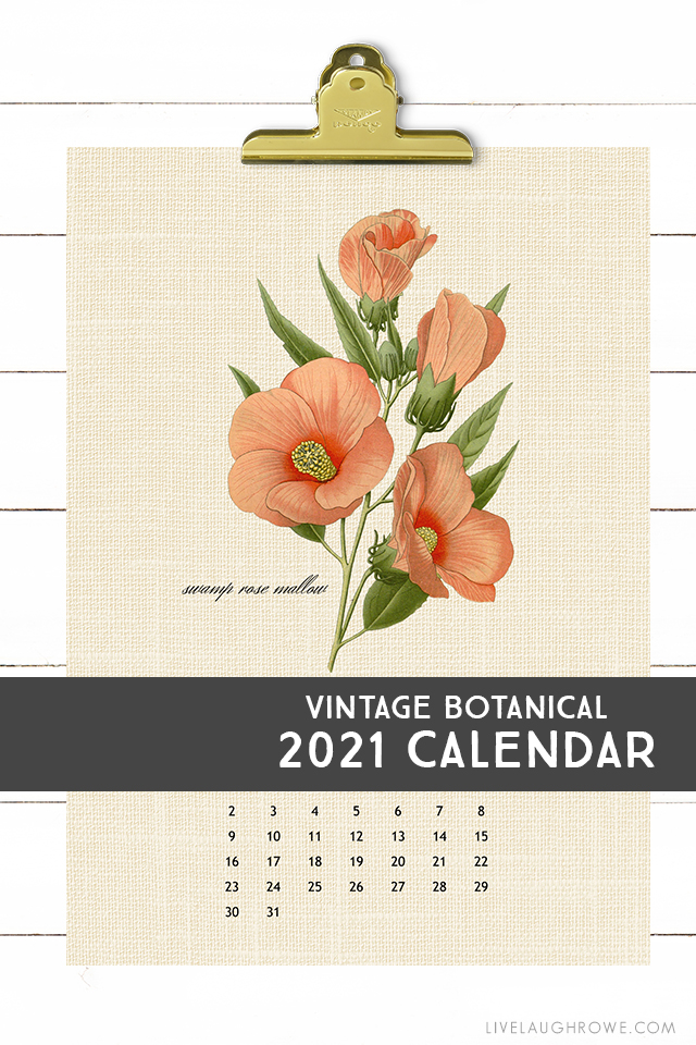 Vintage Botanical 2021 Calendar