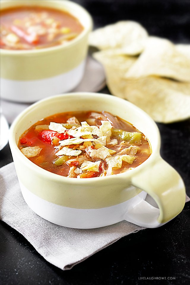 Chicken Tortilla Soup with Tortilla Chips