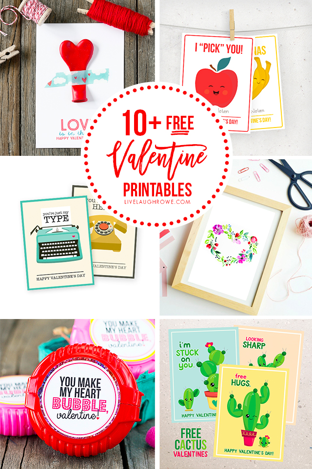 Collage of Free Printable Valentines