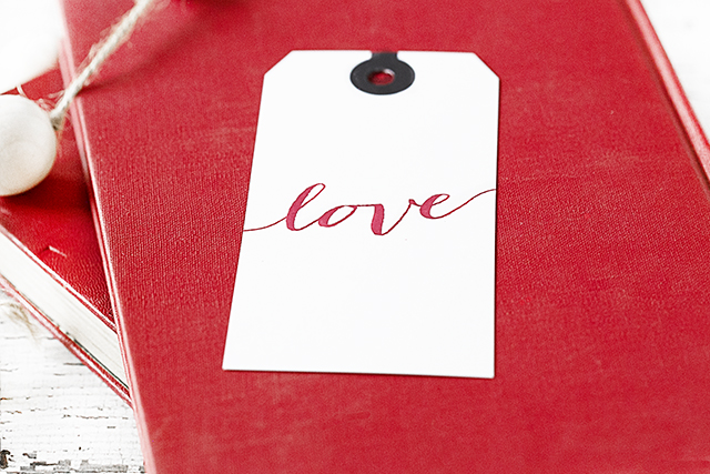 Script Love Valentine's Day Gift Tag sitting in bowl