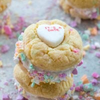 Conversation Heart Cookies with Marshmallow Fluff