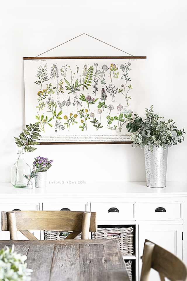 Spring Buffet Decor in Dining Room