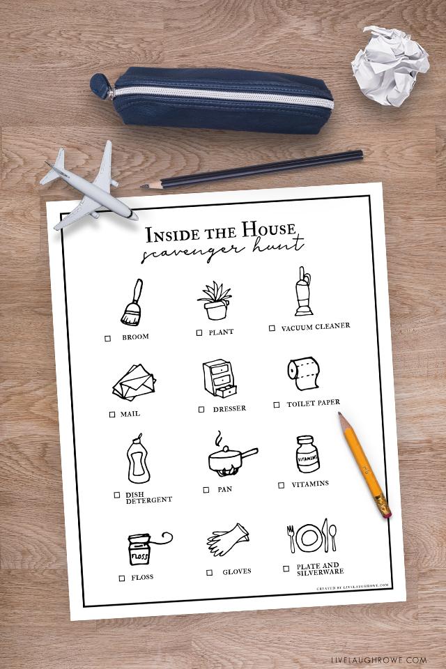 Indoor Scavenger Hunt Printable on Table