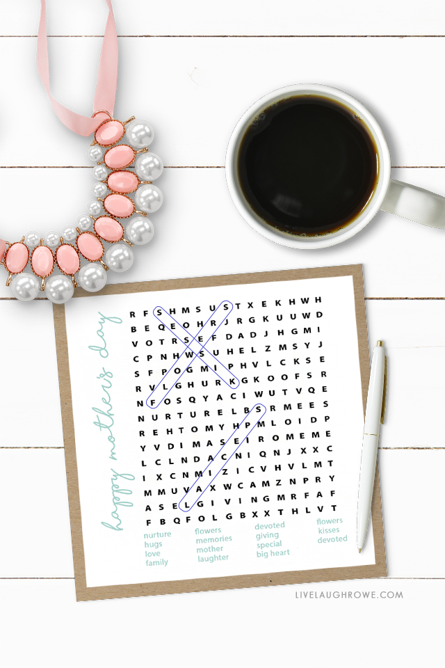 Mother's Day Word Search Styled