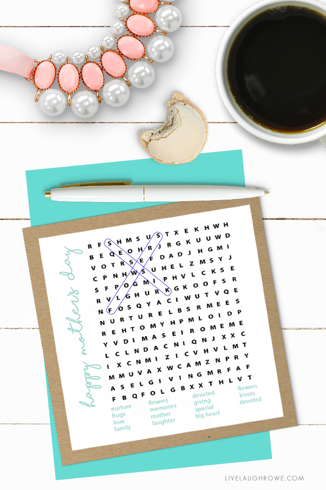 Mother's Day Word Search with Macaroon. Printable Word Game.