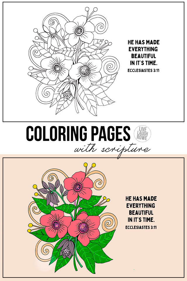 Floral coloring pages with scripture
